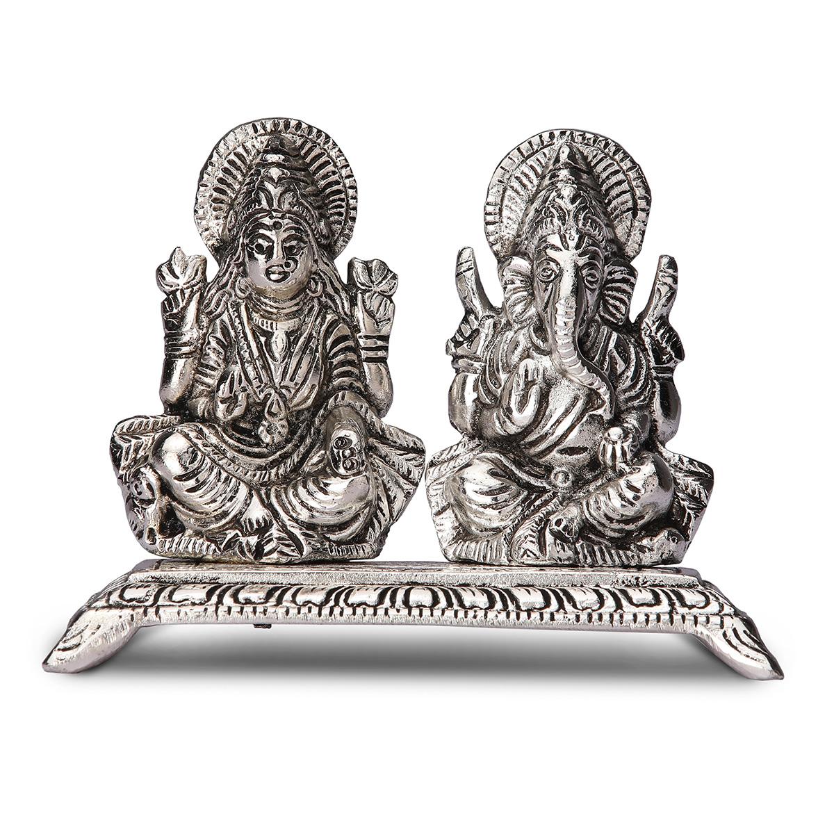 White Metal Laxmi Ganesha Statue