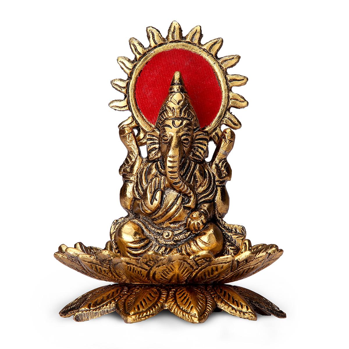 Gold Plated Ganesha on Kamal