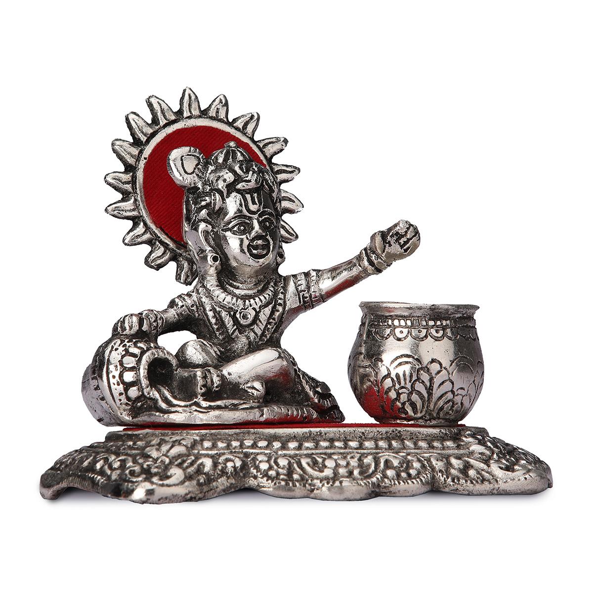 White Metal Bal Krishna With Matki