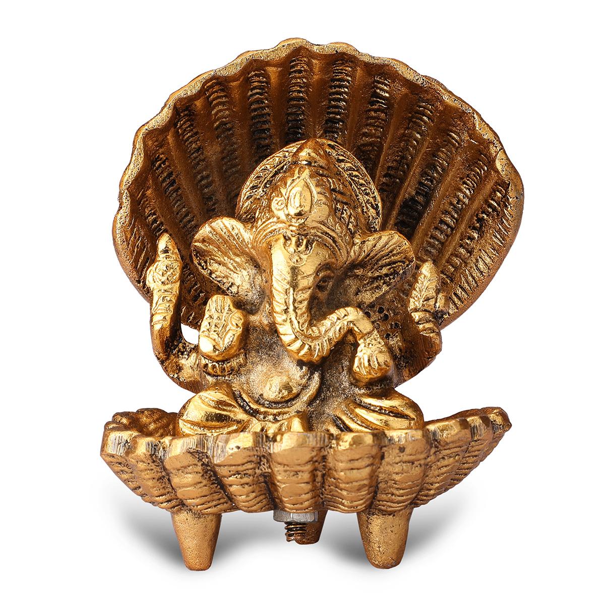 Gold Plated Shankh Ganesha