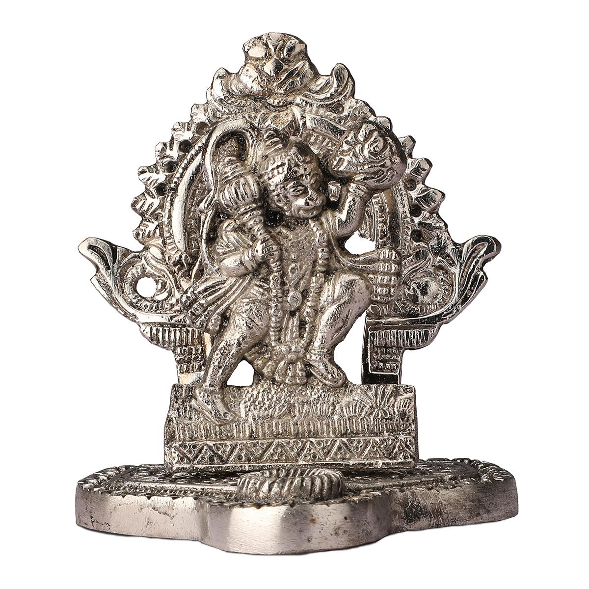 White Metal Hanuman ji Statue In Frame