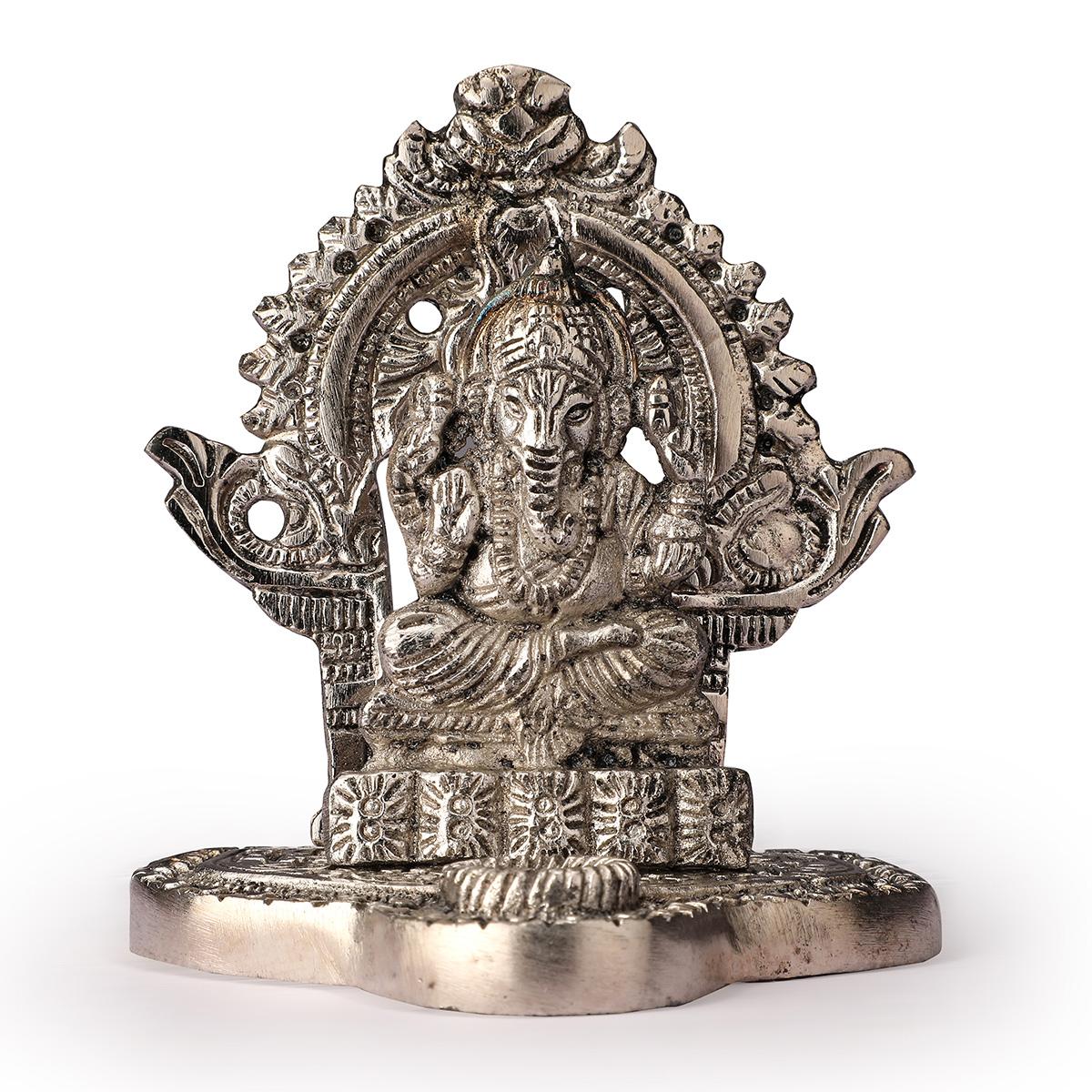 White Metal Ganesha  Ji Statue in Frame