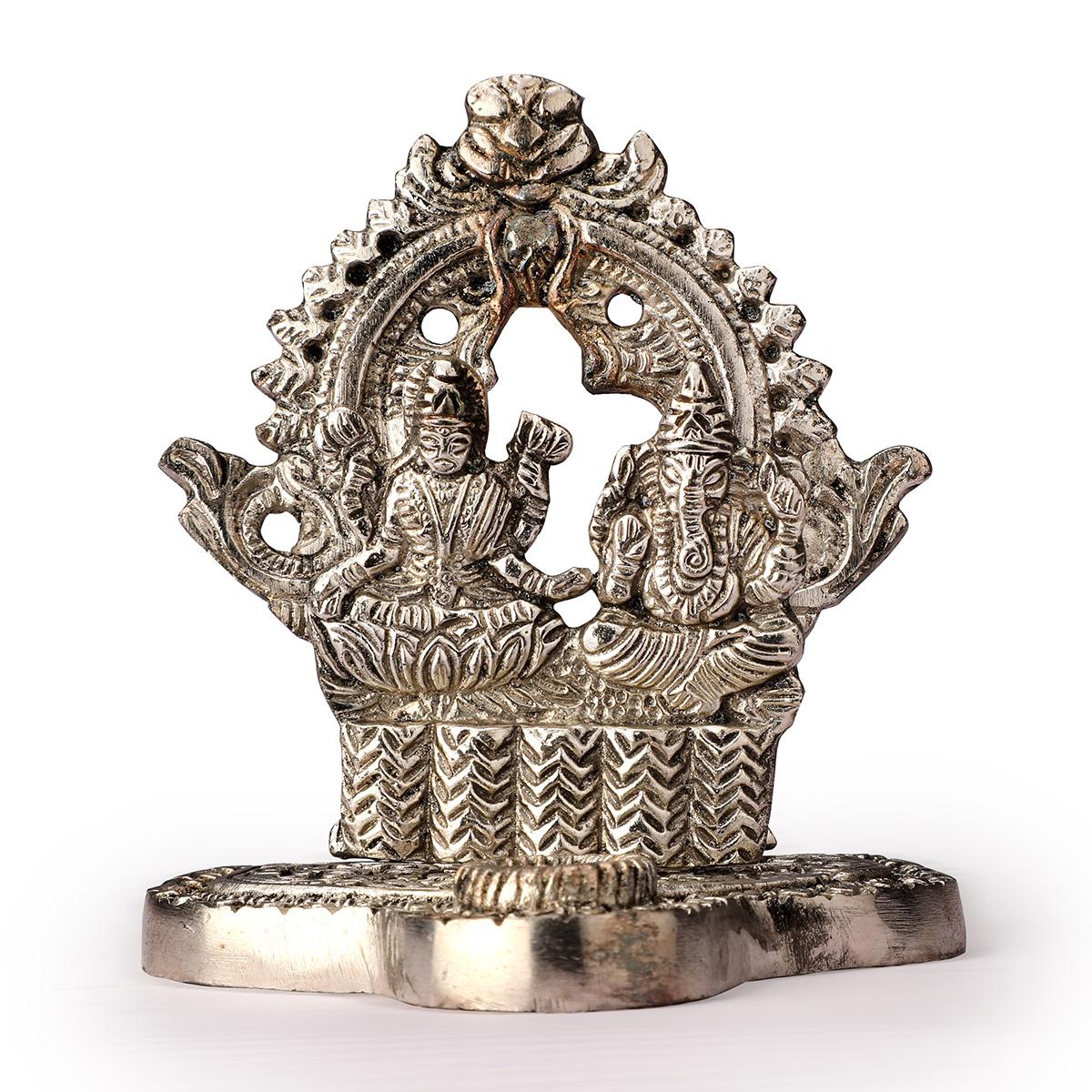 White Metal Laxmi Ganesha Ji Statue in Frame