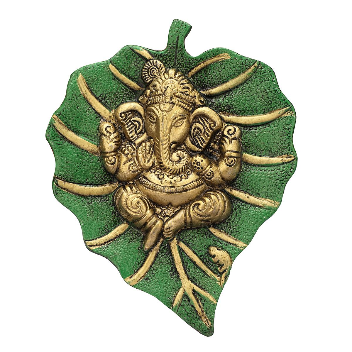 Leaf Ganesha Hanging Green Golden