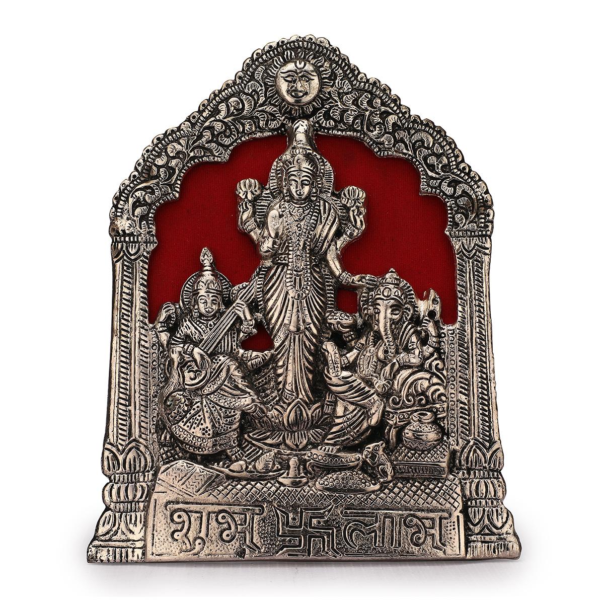 Laxmi Ganesha Swaraswati Photo Frame Silver